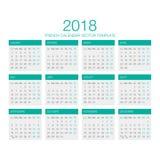 Французский вектор 2018 календаря Стоковые Изображения RF