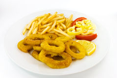 французский зажаренный кальмар fries Стоковые Изображения RF
