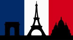 Французский дизайн с флагом Парижа Стоковые Изображения