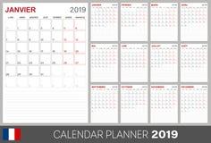 Французский календарь 2019 иллюстрация вектора
