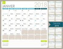 Французский календарь 2018 иллюстрация вектора