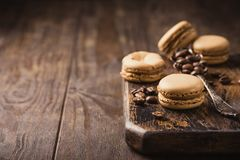 Французский кофе Macarons Стоковые Изображения