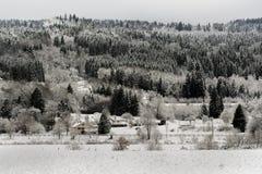 Французский ландшафт деревни под снегом Стоковое Изображение RF