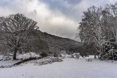 Французский ландшафт деревни под снегом Стоковое Фото