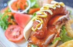 Французский стейк с горячей сосиской Стоковое Изображение