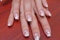 французский manicure рук Стоковое фото RF
