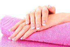французский manicure рук Стоковое Фото