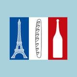 Французский tricolor флаг национальных характеристик страны Стоковые Изображения RF