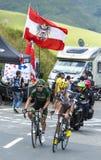 2 французских велосипедиста на Col de Peyresourde - Тур-де-Франс 2014 Стоковое Изображение RF