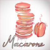 5 французских macarons на розовой предпосылке выплеска краски Иллюстрация вектора акварели светлых печениь Иллюстрация штока