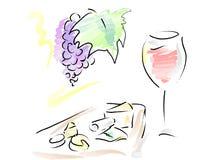 Французское вино и плита сыра иллюстрация штока