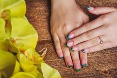 Французское искусство ногтя в голубом и зеленом цвете Стоковые Фотографии RF