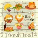 Французское меню еды иллюстрация вектора