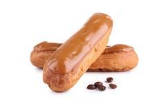 Французское печенье eclair кофе Стоковое Изображение RF