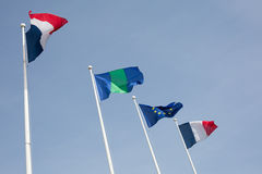 Француз и европейский флаг Стоковые Фото