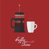 Француз пресса и кофейная чашка Плоский стиль Стоковая Фотография RF