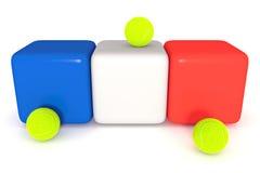 Француз сигнализирует, Tricolor кубы с теннисными мячами, иллюстрацией 3d Стоковое фото RF