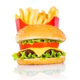 франчуз жарит гамбургер вкусный Стоковые Изображения RF