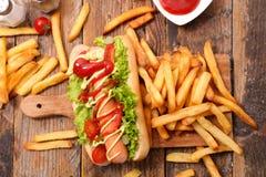 франчуз собаки жарит горячий Стоковое Изображение