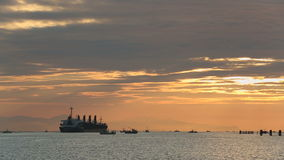 Фрахтовщик двигая через рыбопромысловый флот, Реку Fraser сток-видео