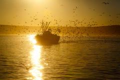 Фрегат Strinnyj в порте на ноче Стоковые Фото