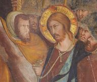 Фреска в San Gimignano - Иисусе на страстной пятнице Стоковая Фотография