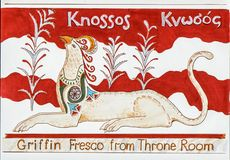 Фреска грифона дворца Knossos стоковое фото rf