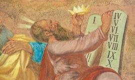 Фреска Моисея и 10 заповедей Стоковые Изображения