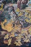 Фреска настенной росписи эпопеи Ramakien на грандиозном дворце в Бангкоке, Th Стоковая Фотография