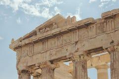 Фризы Парфенона на акрополе, Афинах, Греции Стоковое Фото
