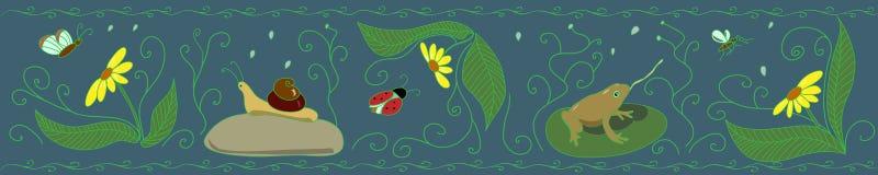 Фриз с насекомыми на темной предпосылке Стоковые Изображения