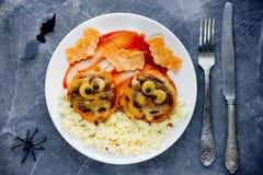 Фрикадельки мумии - здоровые и творческий обедающий хеллоуин rec младенца Стоковая Фотография