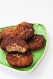 Фрикадельки семенить мяса на плите Стоковые Фото