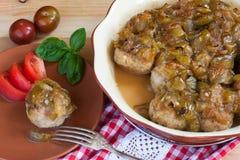 фрикадельки с пряным сладостным и кислым соусом сливы Стоковое Изображение