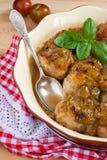 фрикадельки с пряным сладостным и кислым соусом сливы Стоковые Фото