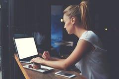 Фрилансер милой женщины успешный используя портативный компьютер пока сидящ в кофейне Стоковое Изображение RF