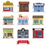 Фронты магазина дизайна магазинов и мест плоские иллюстрация вектора