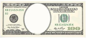 Фронт 100 долларовых банкнот без рамки стороны для дизайна изолированной на белизне стоковое изображение