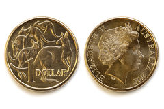Фронт и задняя часть австралийского доллара стоковое изображение