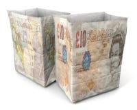 Фронт и задняя часть английского фунта бумажной сумки стоковое фото rf