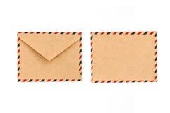Фронт и задняя часть винтажного конверта Манилы Стоковые Изображения