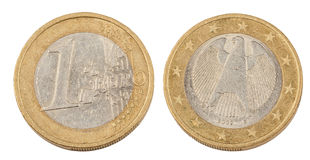 Фронт и задняя часть одной монетки евро Стоковое Фото
