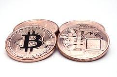 Фронт и задняя часть Bitcoins Стоковое Фото