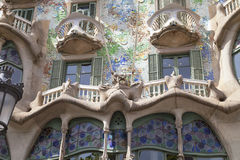 Фронт Касы Batllo, проекта Gaudi, Барселоны, Испании Стоковое Изображение RF