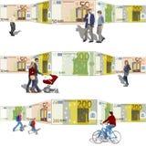 Фронт людей гуляя счетов предпосылки Стоковые Фото