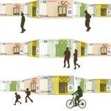 Фронт людей гуляя счетов предпосылки Стоковое Изображение