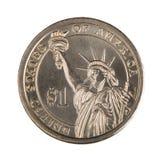 фронт одно доллара монетки Стоковая Фотография RF
