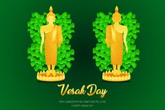 Фронт стойки phra монаха Будды дня Vesak - задний взгляд молит составленный концентрацией фронт отпуска веры культуры вероисповед иллюстрация вектора