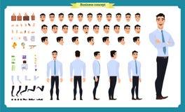 Фронт, сторона, задний взгляд одушевил характер Творение характера менеджера установило с различными взглядами, стилями причесок, иллюстрация вектора