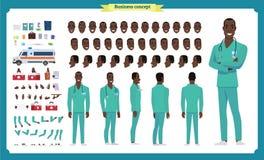 Фронт, сторона, задний взгляд одушевил черный американский характер Творение характера доктора установило с различными взглядами, иллюстрация вектора